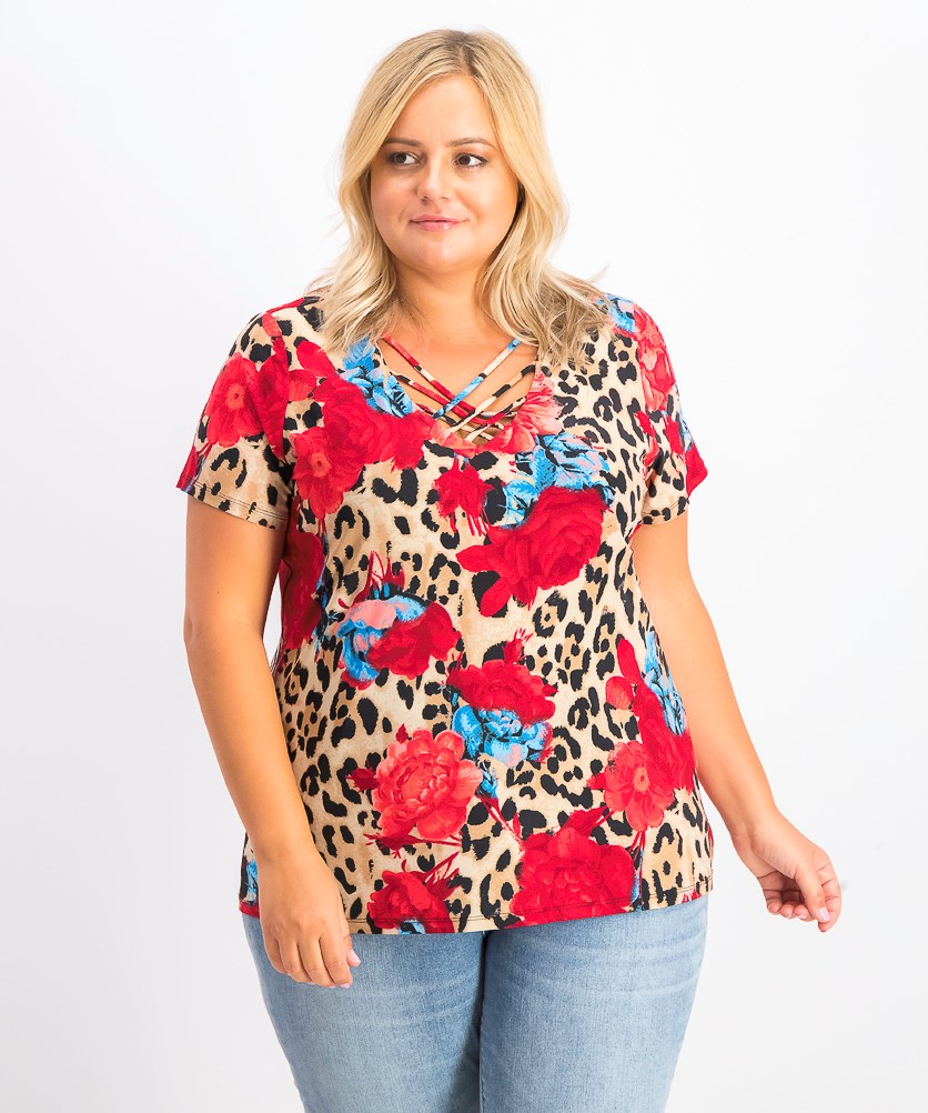Womens Plus Size Strappy V-Neck Top, Leopard Tapester