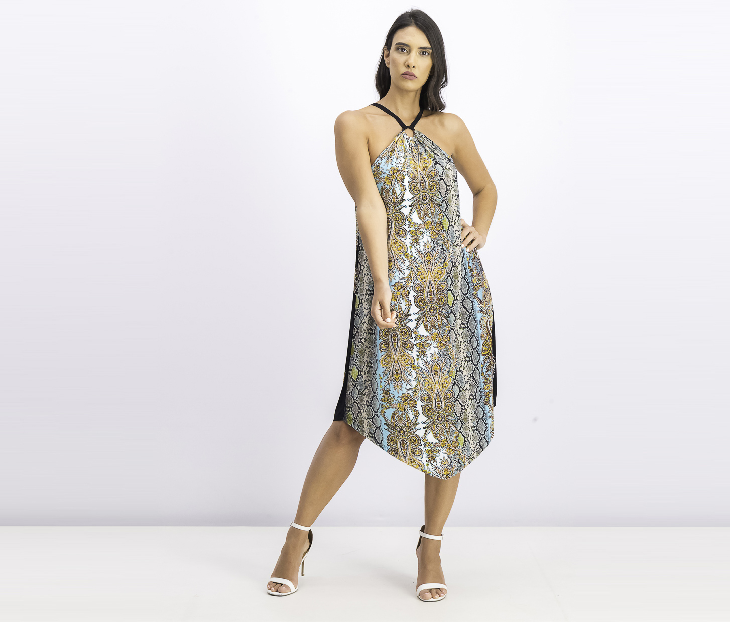 Women's Ring-Neck Halter Dress, Viper Paisley
