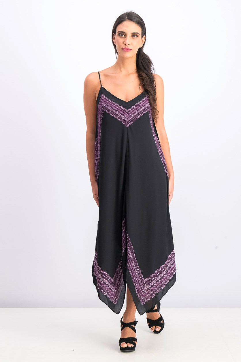 Women's Printed Handkerchief-Hem Dress, Paisley Ikat