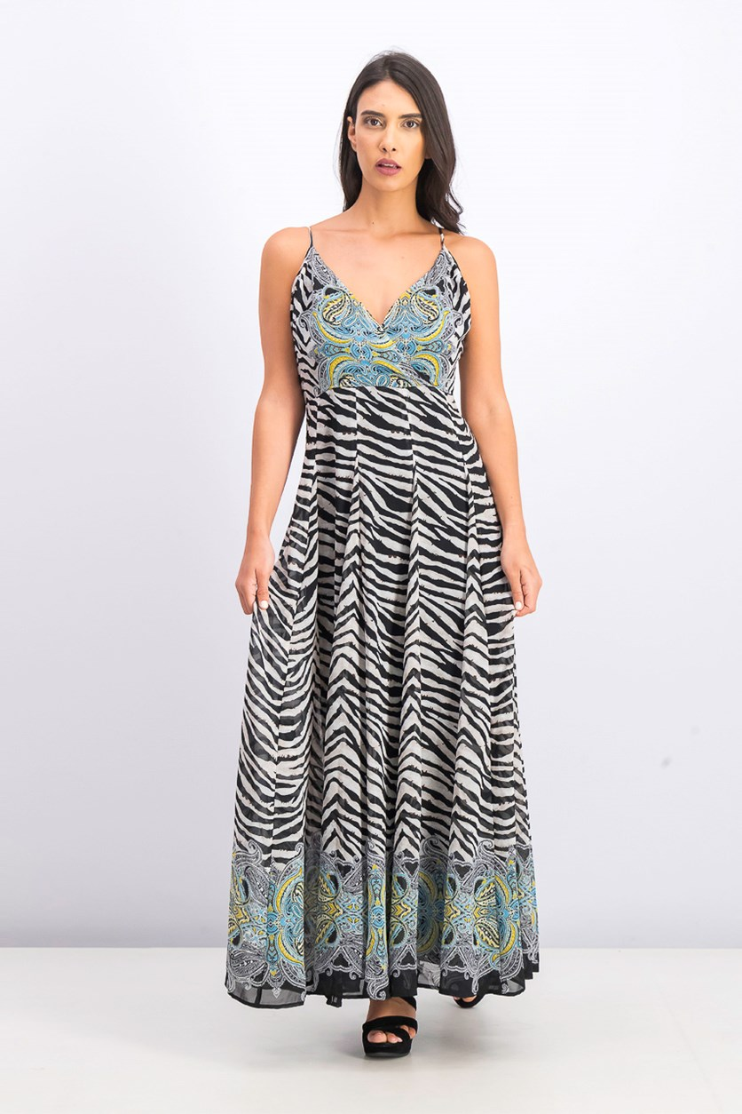 Women's Zebra-Print Maxi Dress, Vibrant Zebra