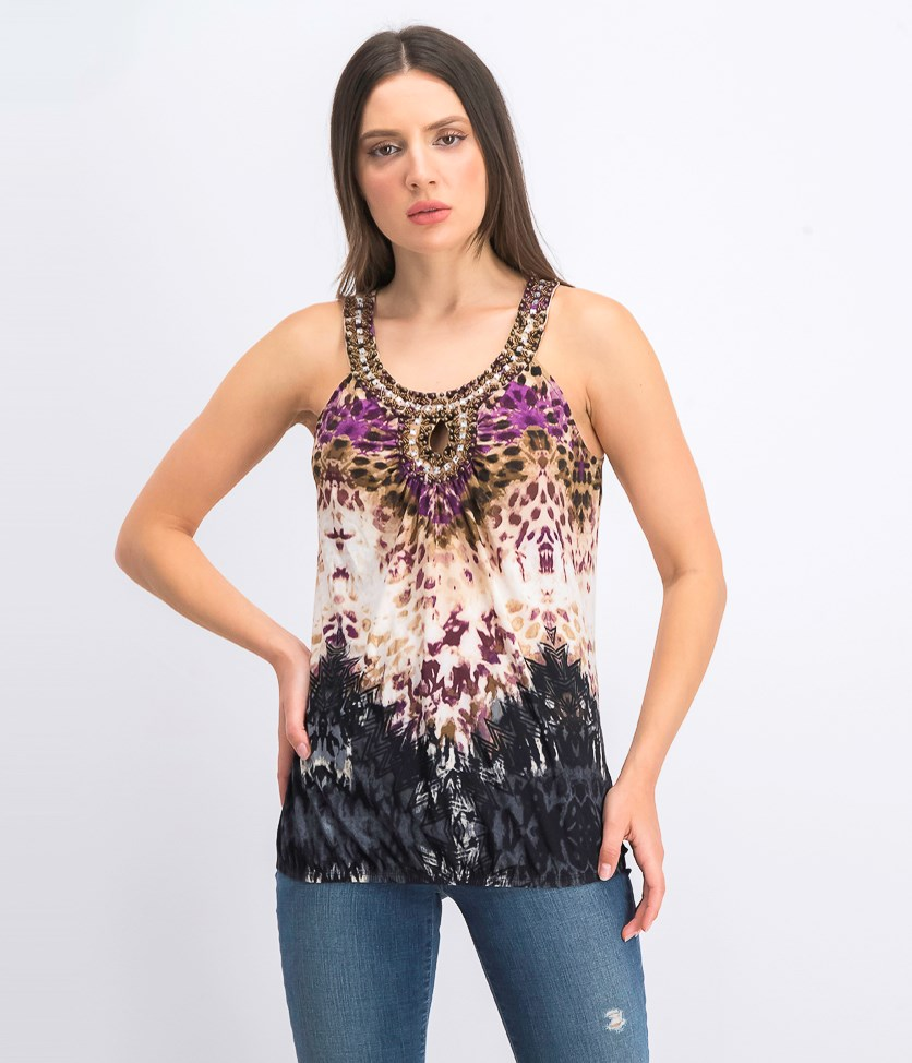 Women's Embellished Halter Top, Jungle