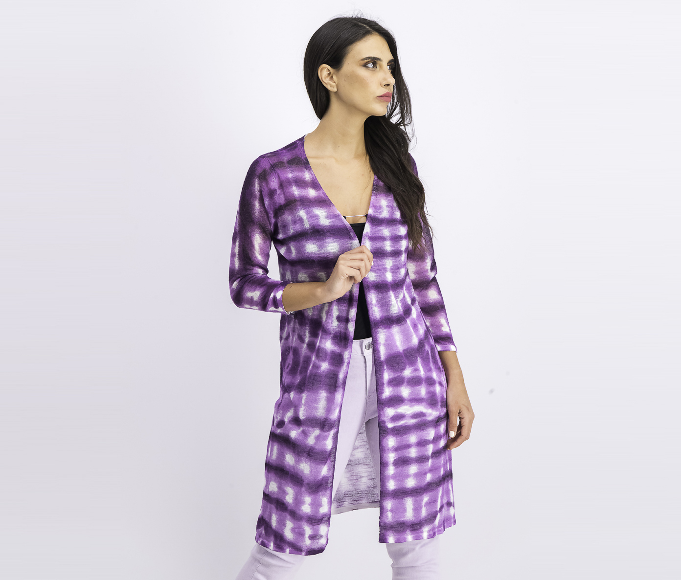 Women's Long Sleeve Tie-Dyed Cozy Cardigan, Purple Paradise