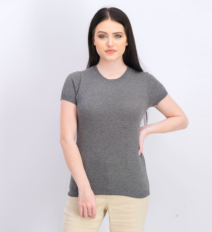 Women's Short-Sleeve Crew Neck Top, Grey