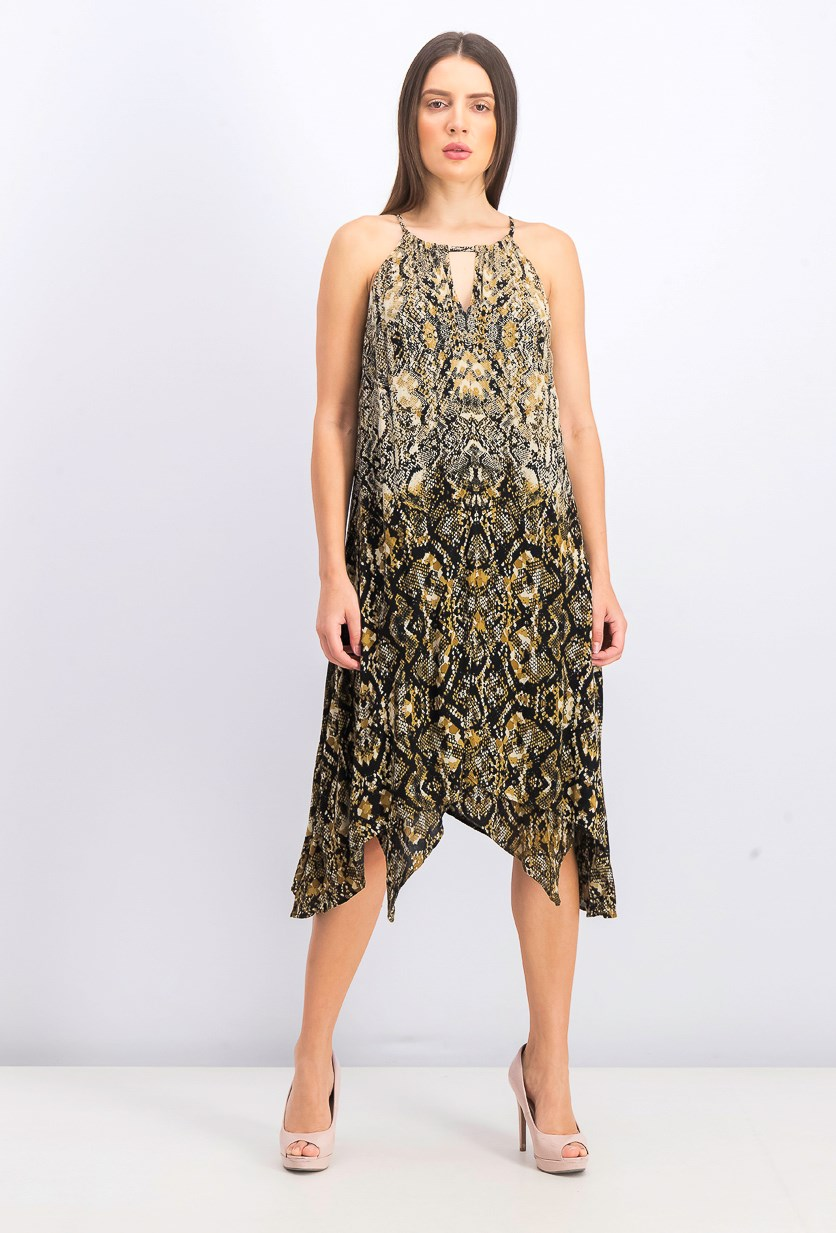 Women's Python-Print Dress, Arid Snake