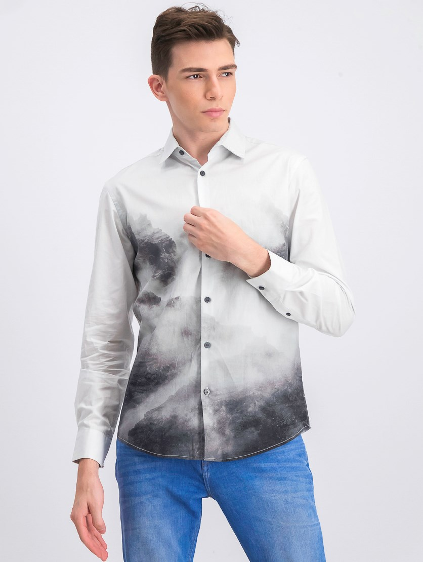 Men's Long Sleeve Casual Shirt, Deep Black/White