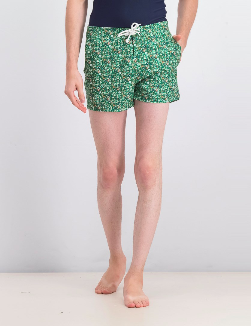 Men's Ditsy Floral-Print Quick-Dry Swim Trunks, Green Combo