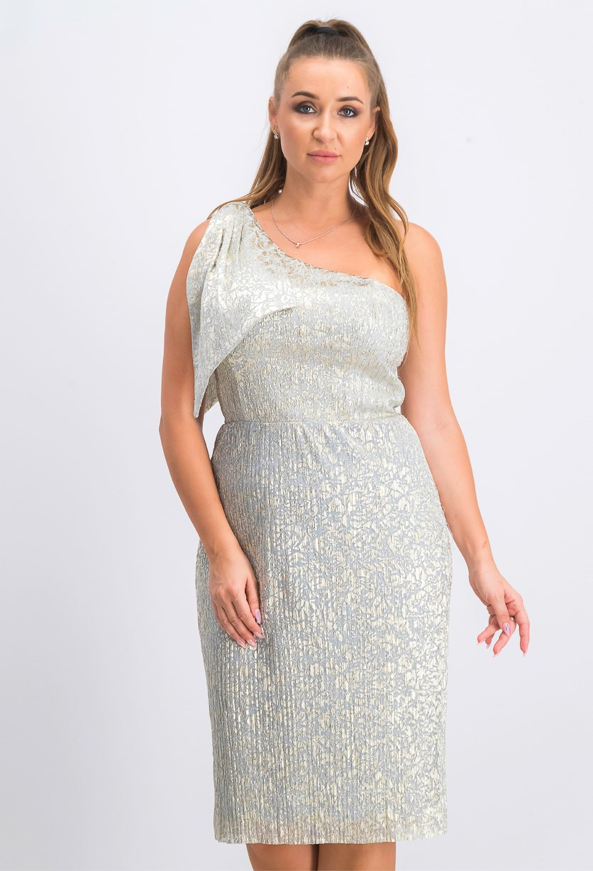 Women's  One-Shoulder Shimmer Dress, Grey/Gold