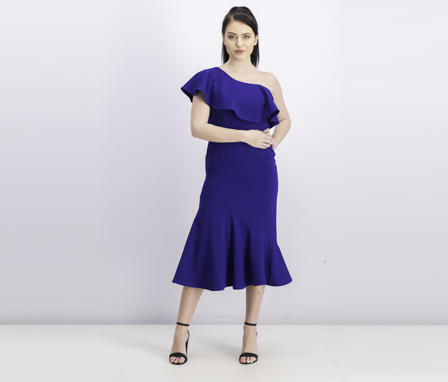 Women's Ruffled One-Shoulder Midi Dress, Blue