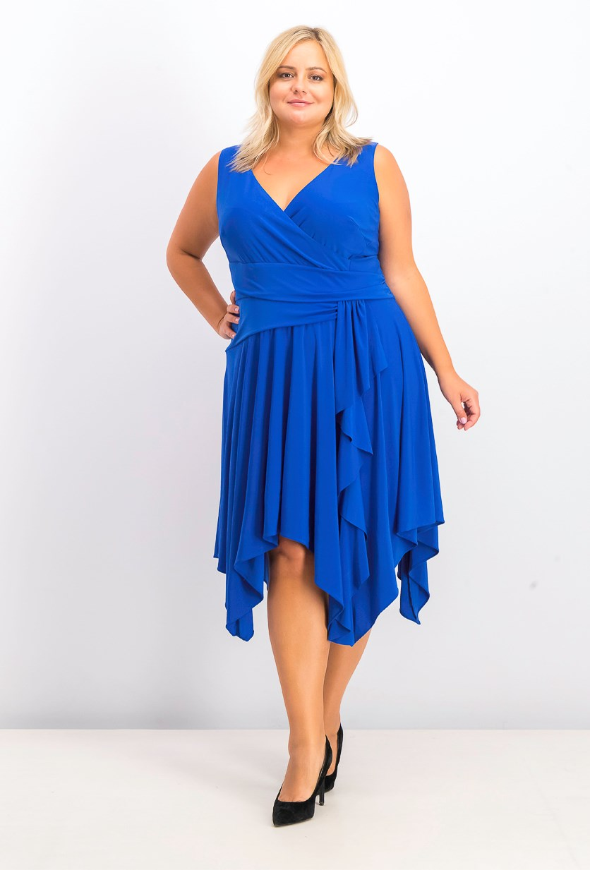 Plus Size Surplice Jersey Midi Dress, Blue