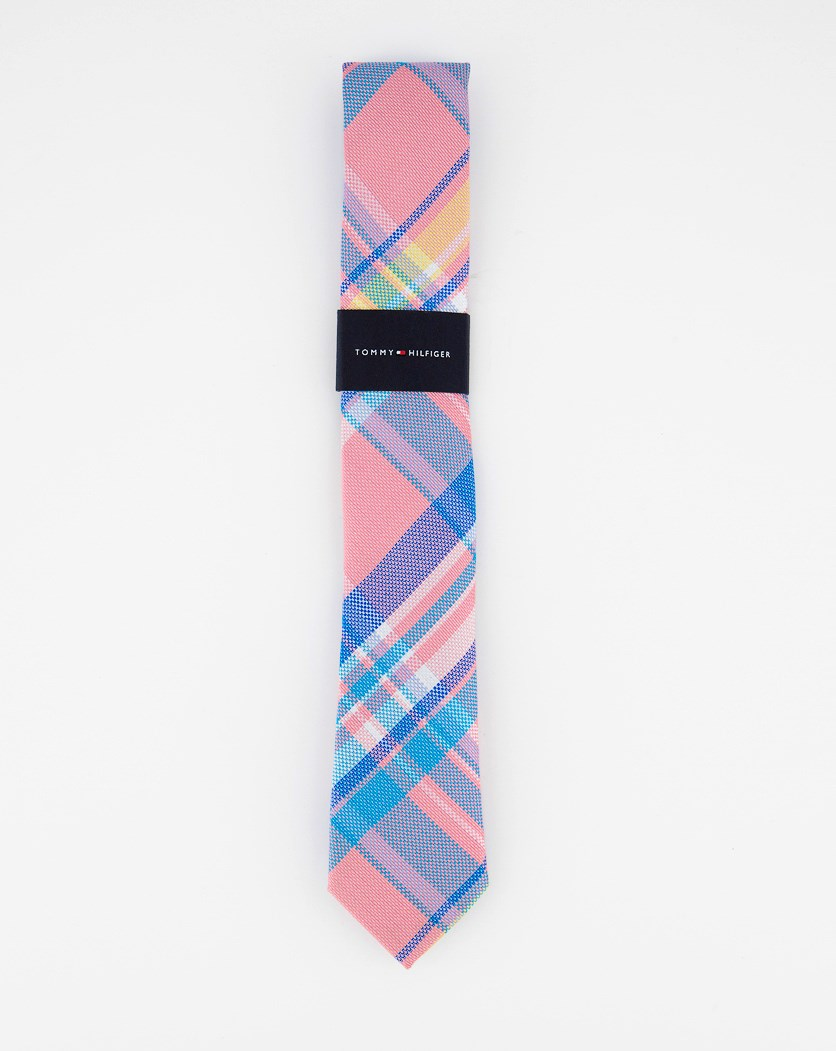 Little Boys Pastel Plaid Silk Tie, Pink Combo