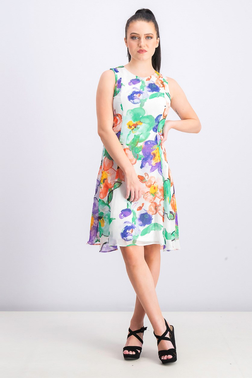 Women's Floral Printed A-line Dress,  Ivory Combo
