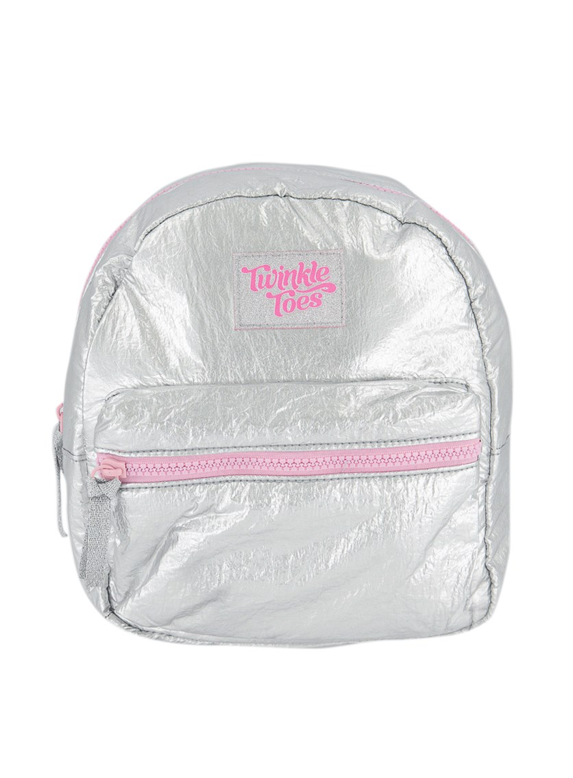 Kids Girls Metallic Back Pack, Silver/Pink