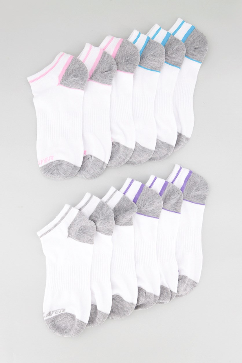 Kids Girls Proline Low Cut Socks, White Combo