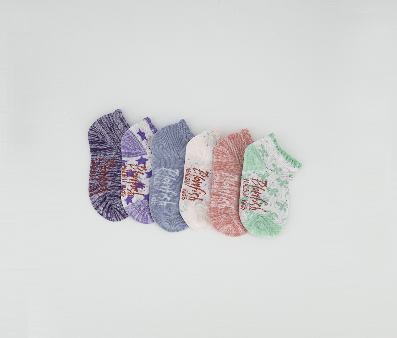 6 Pairs Toddler Girls Low Cuts Socks, Green/Chambray/Purple/Pink