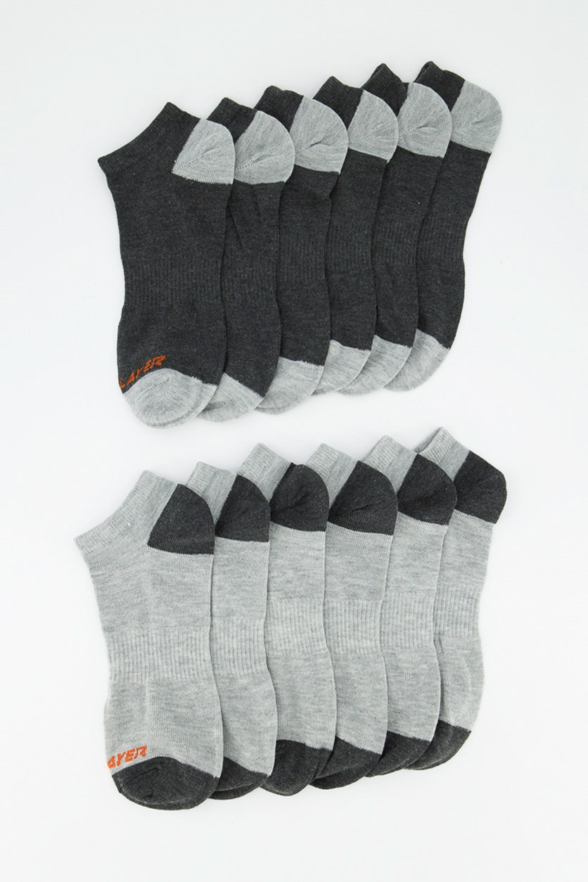Men's 12 Pairs Low Cut Socks, Charcoal/Grey