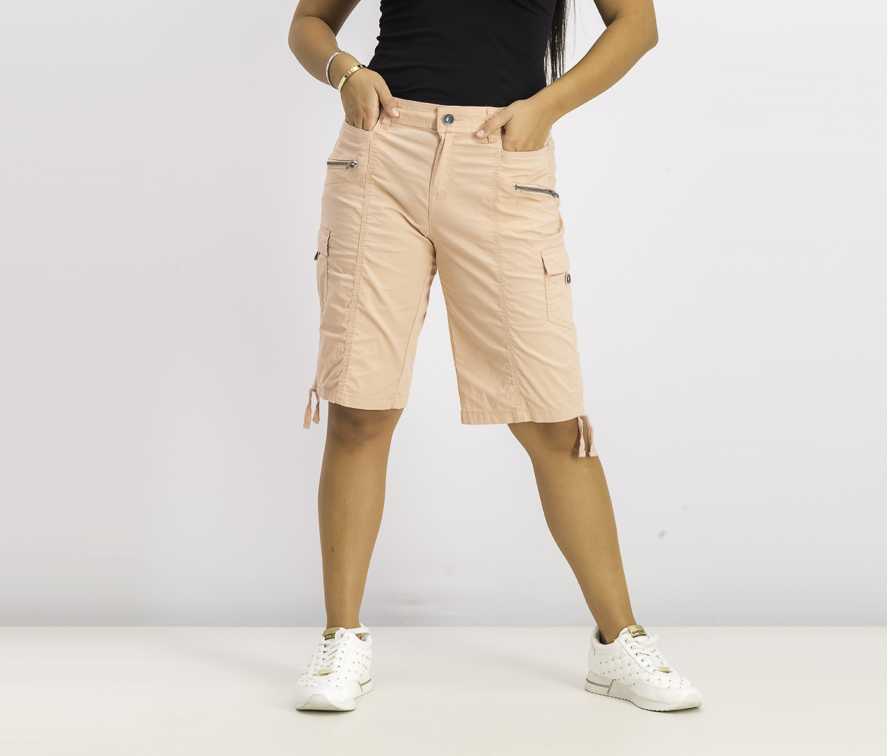 Women's Zipper Bermuda Cargo Shorts, Peach Beige