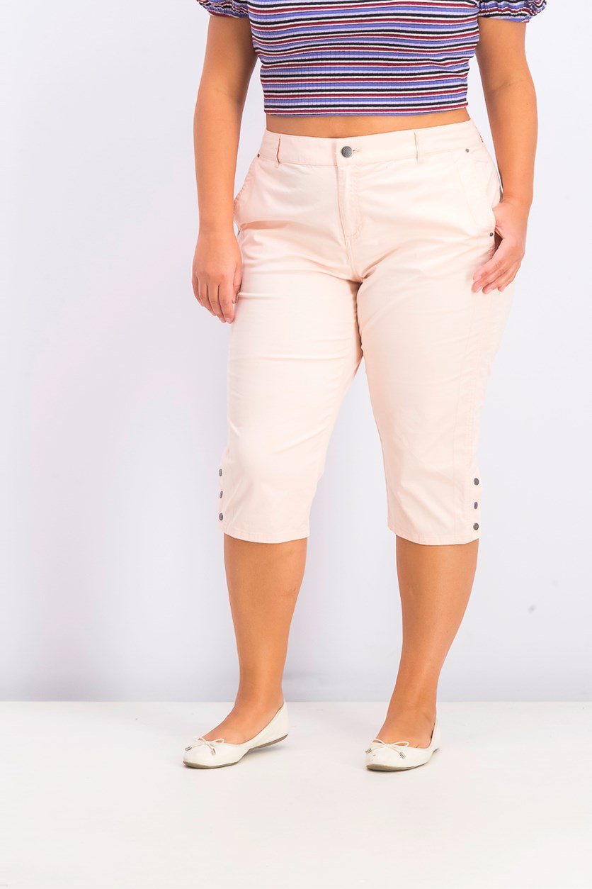 Women's Snap-Button Capri Pants, Crushed Petal