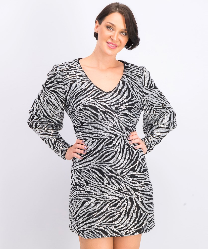 Women's Lima Dress, Silver Zebra