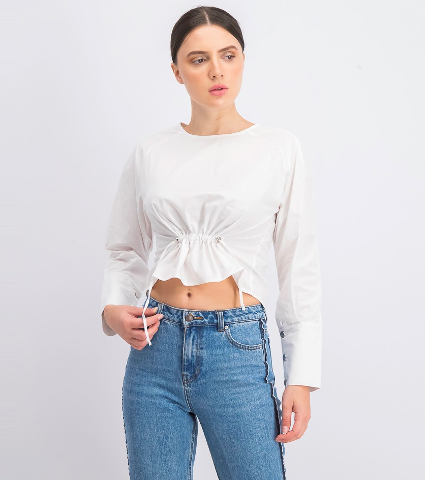 Women's Dalton Long-Sleeve Crop-Top, White