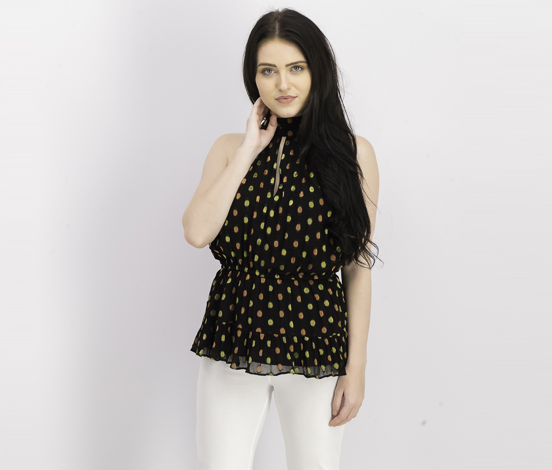 Women's Mary Top, Metallic Dot