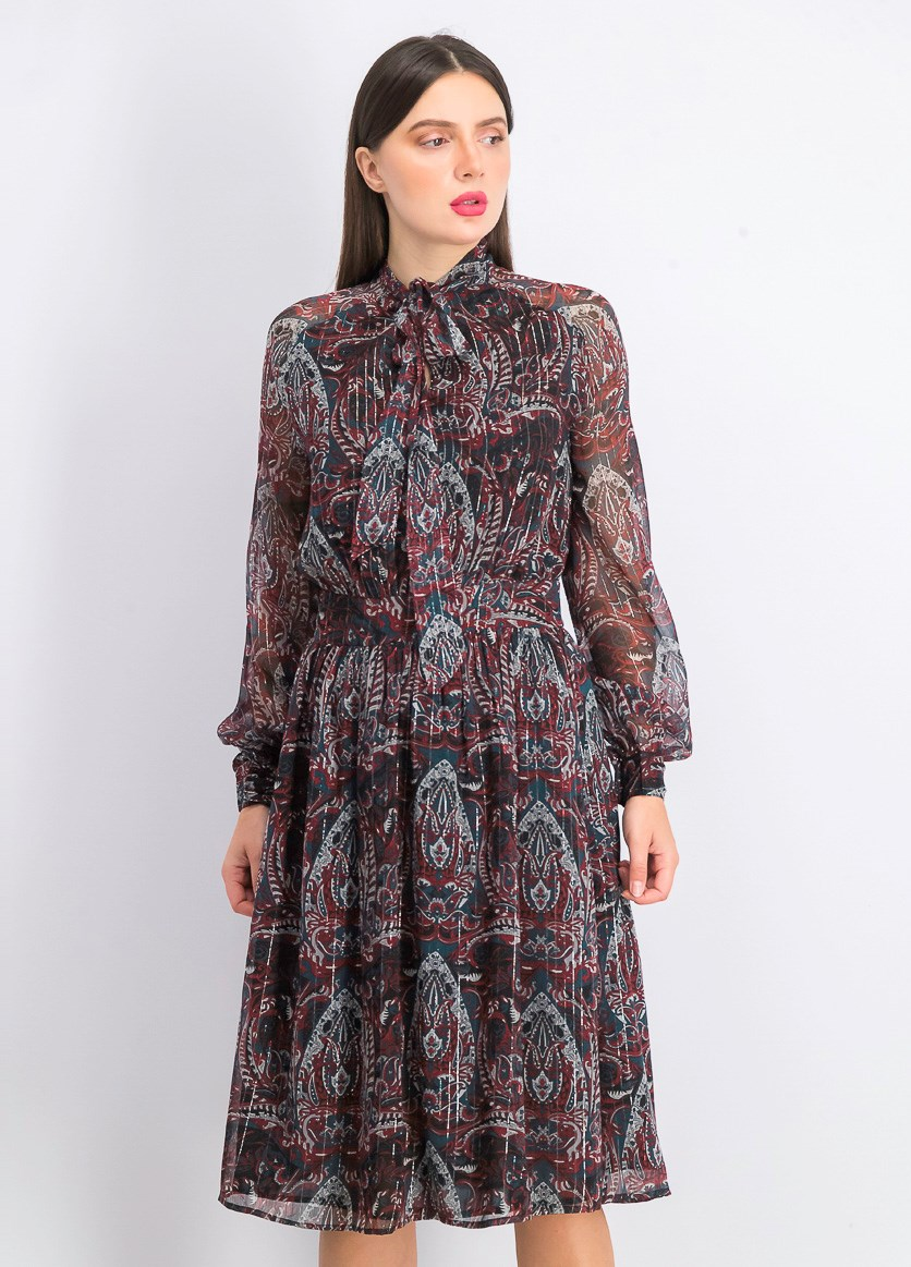 Women's Wilsen Midi Dress, Bronze Paisley