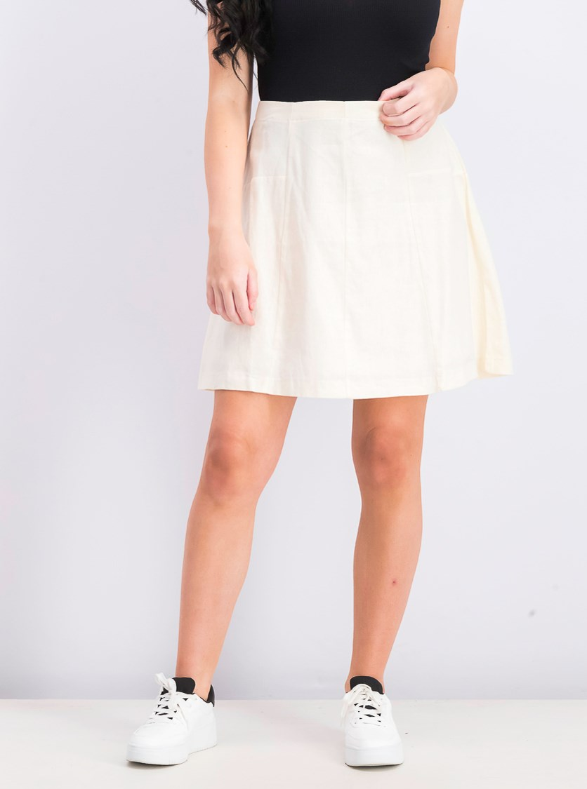 Women Linen Flared Skirt, Gardenia