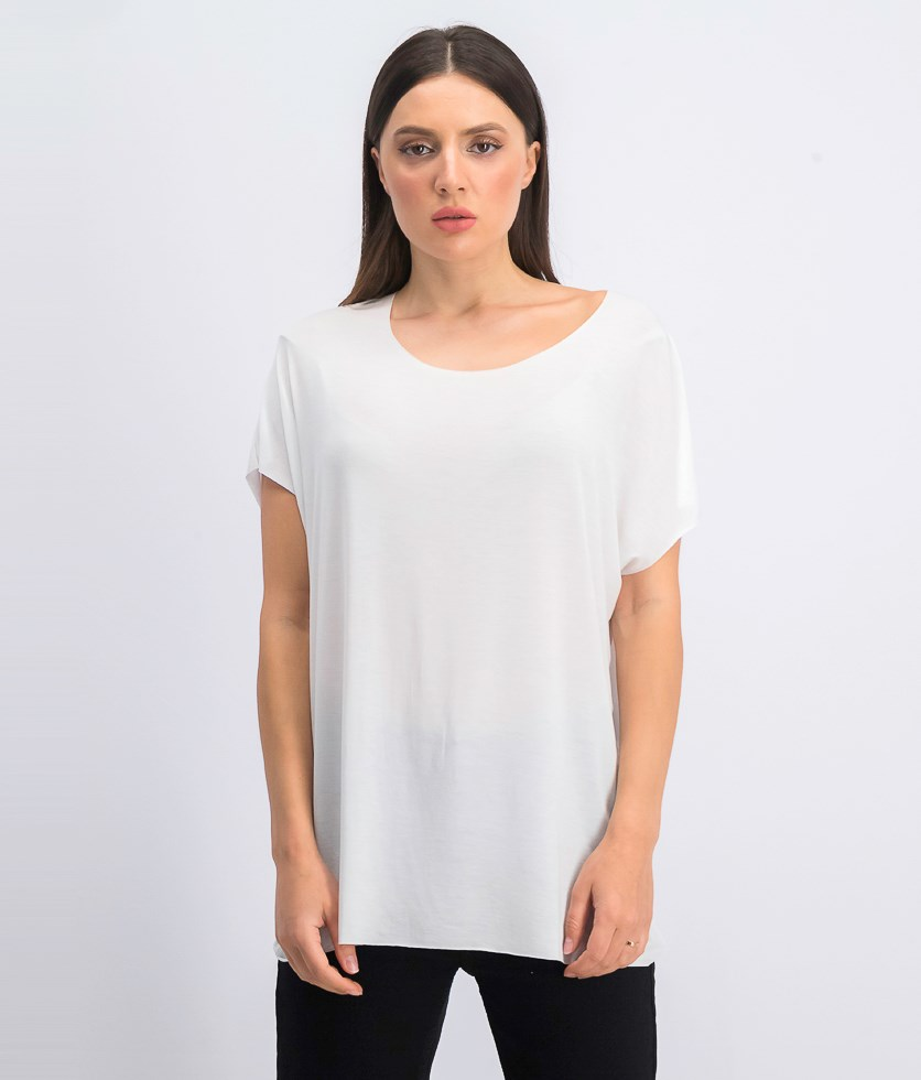 Women's Covet Raw Edge Oversize Tee, White