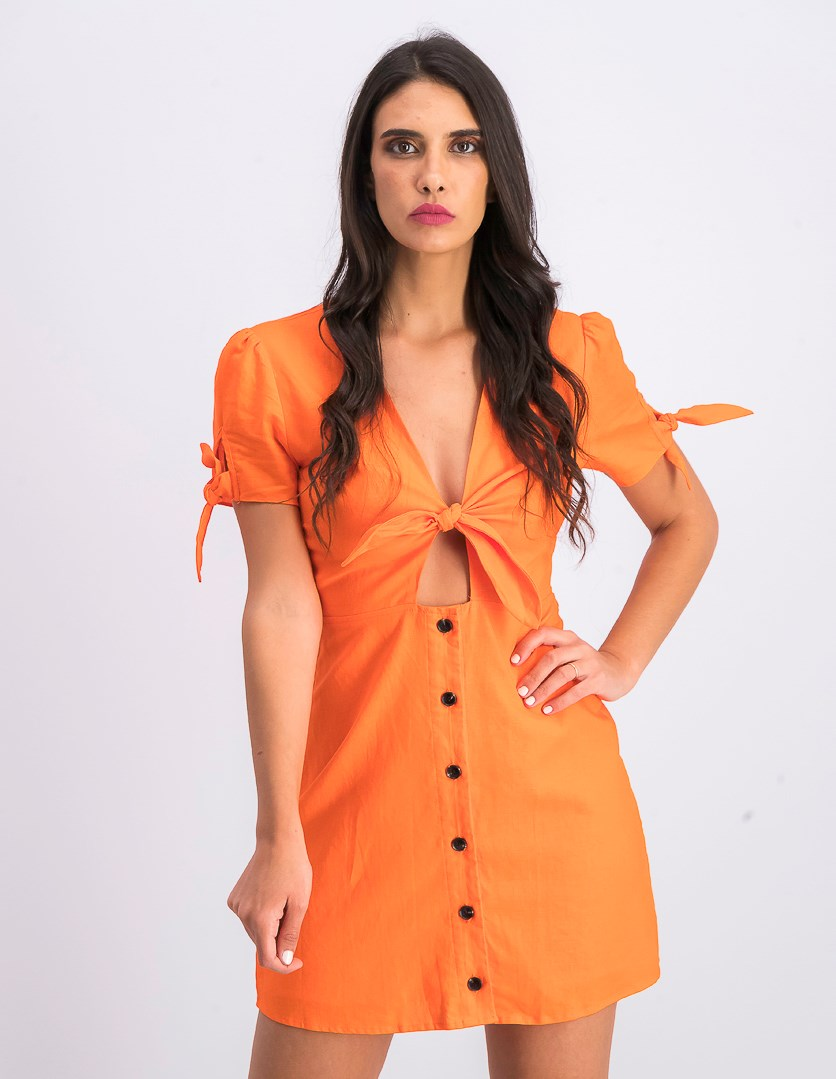 Women's Tie-Detail Front-Cutout Dress, Coral Red