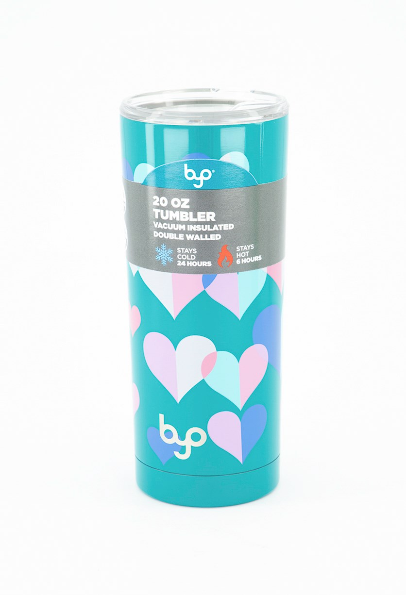 Double Wall Stainless Steel Insulated Tumbler, Teal Hearts
