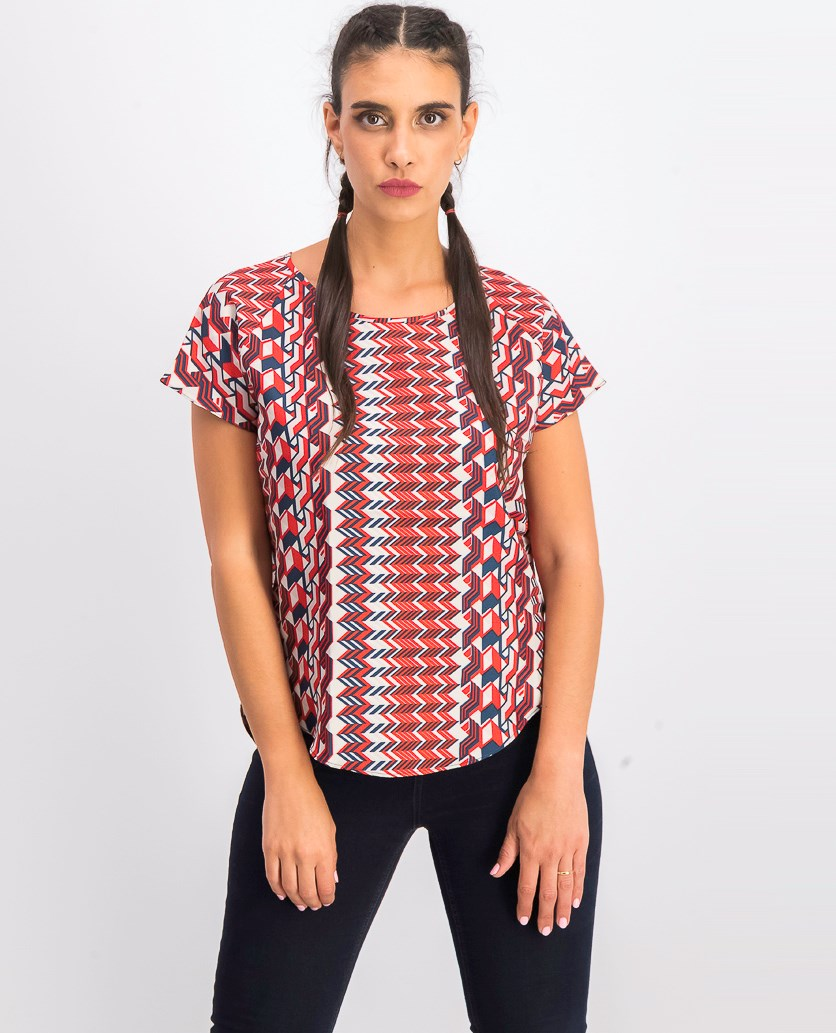 Women's Silk Back Woven Top, Red Combo