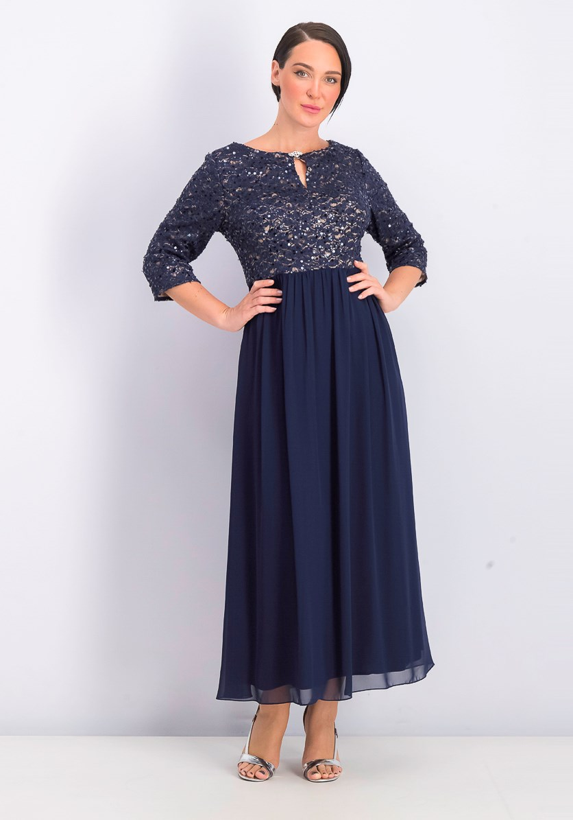 Women's Embellished Gown, Navy Blue