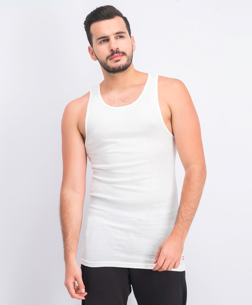 Men's Sleeveless 3 Pack of Tall Undershirt, White