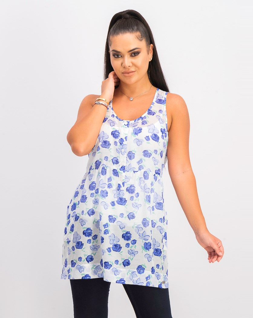 Women's Floral Button Down Tops, Blue/White Combo