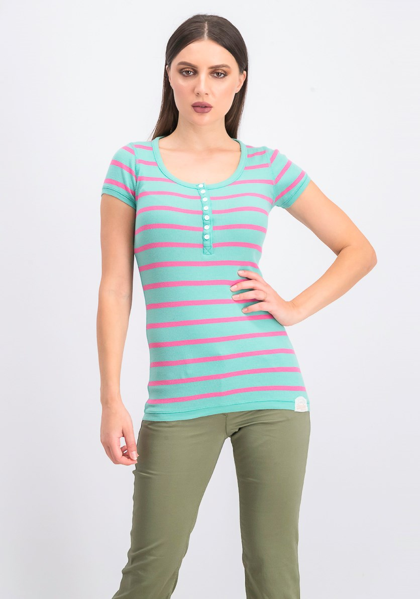 Women's Pullover Stripe Tops, Green/Pink