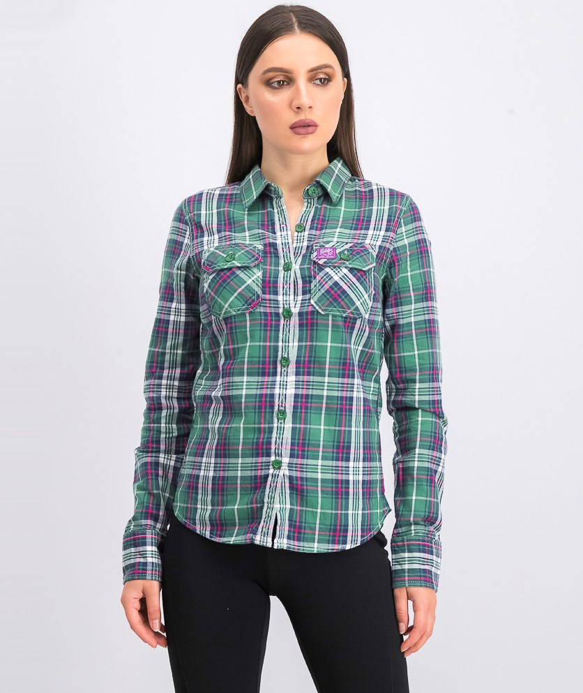 Womens Plaid Long Sleeve Tops, Green/Navy