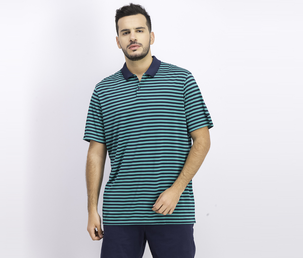 Men's Dry Victory Striped Golf Polo, Green/Navy Blue