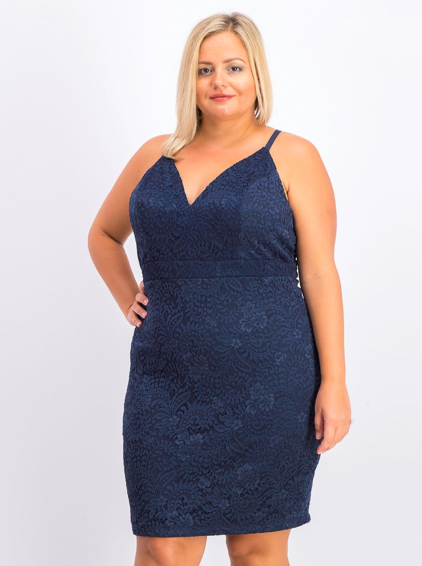Trendy Plus Size Lace Racerback Bodycon Dress, Navy