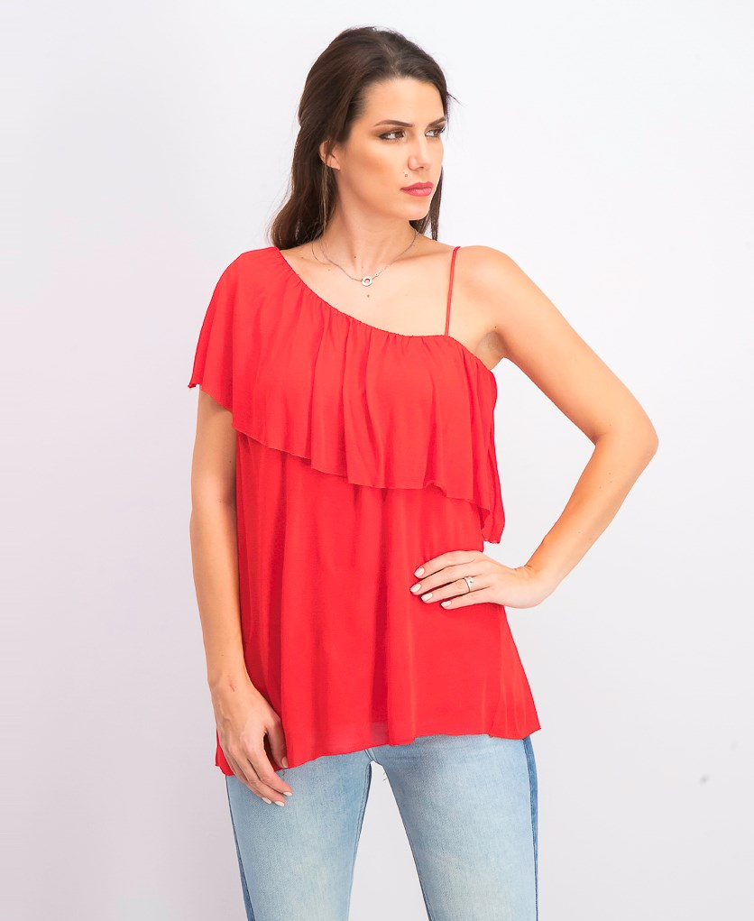 Women's Cha Cha Ruffled One Shoulder Casual Top, Red