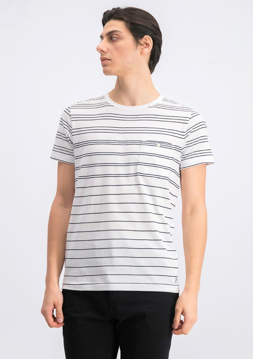Mens Summer Graded Stripe Crew Neck T-Shirt, White/Marine