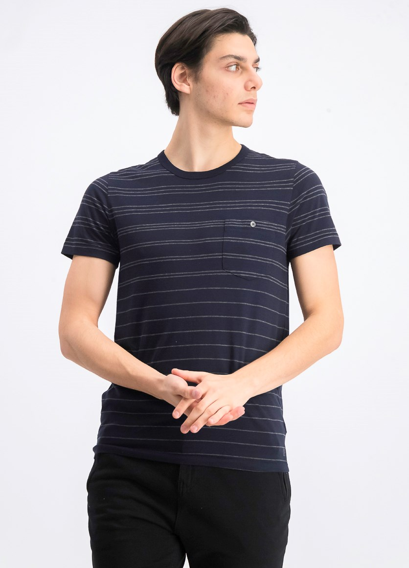 Mens Summer Graded Stripe Crew Neck T-Shirt, Marine/Charcoal Melange