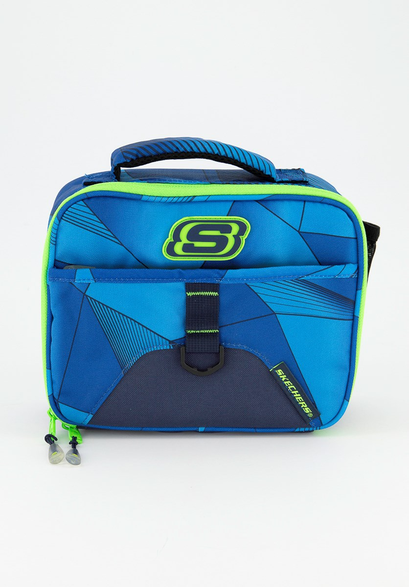 Boys Printed Lunch Box, Blue/Lime Green