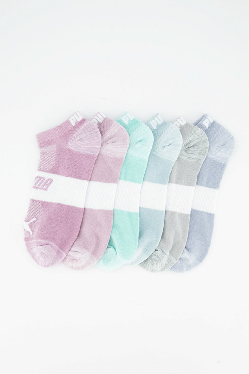 Women's 6 Pack Low-Cut Socks, Grey/Turquoise/Blue/Pink