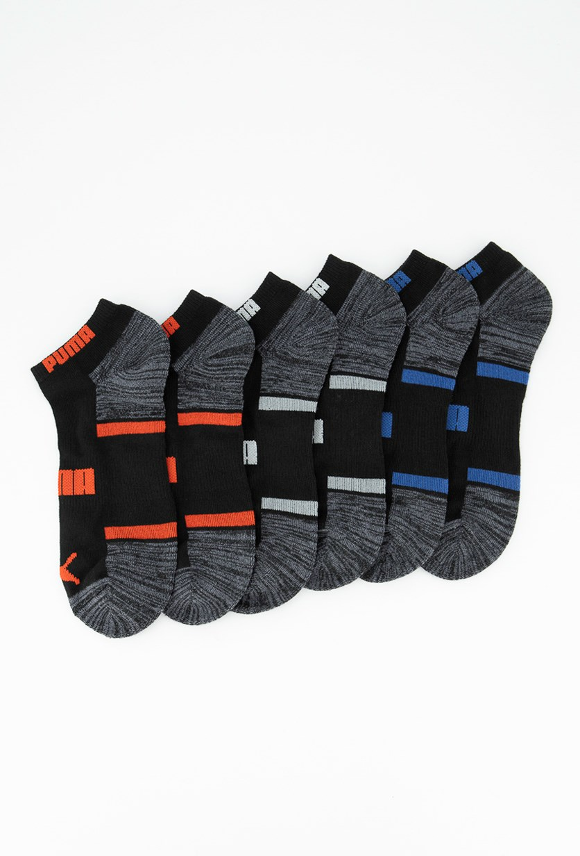 Men's 6 Pair Performance Low Cut Socks, Black/Grey
