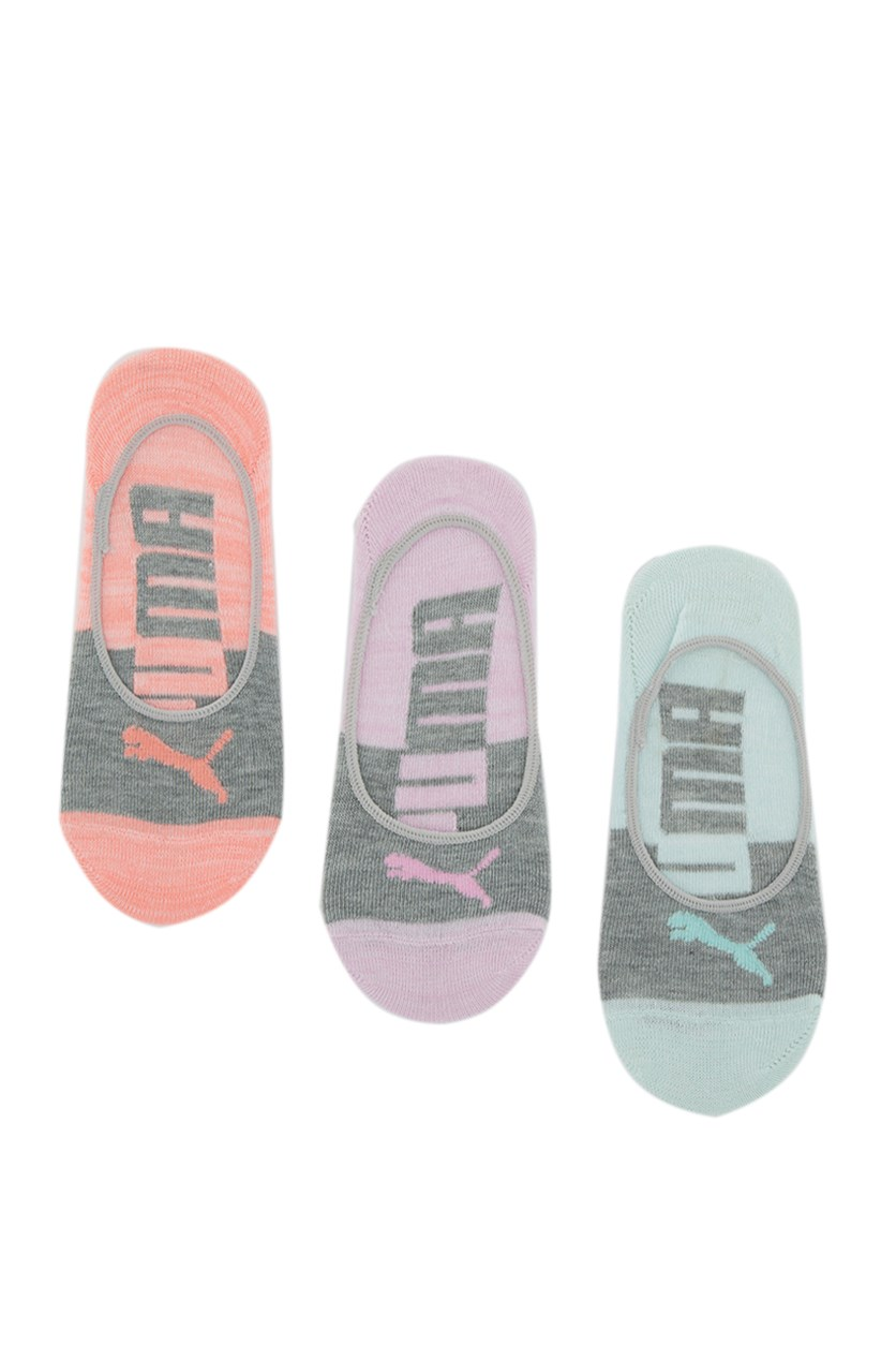 Women's Super Lite 3 Pairs Socks, Grey/Pink/Turquoise/Coral
