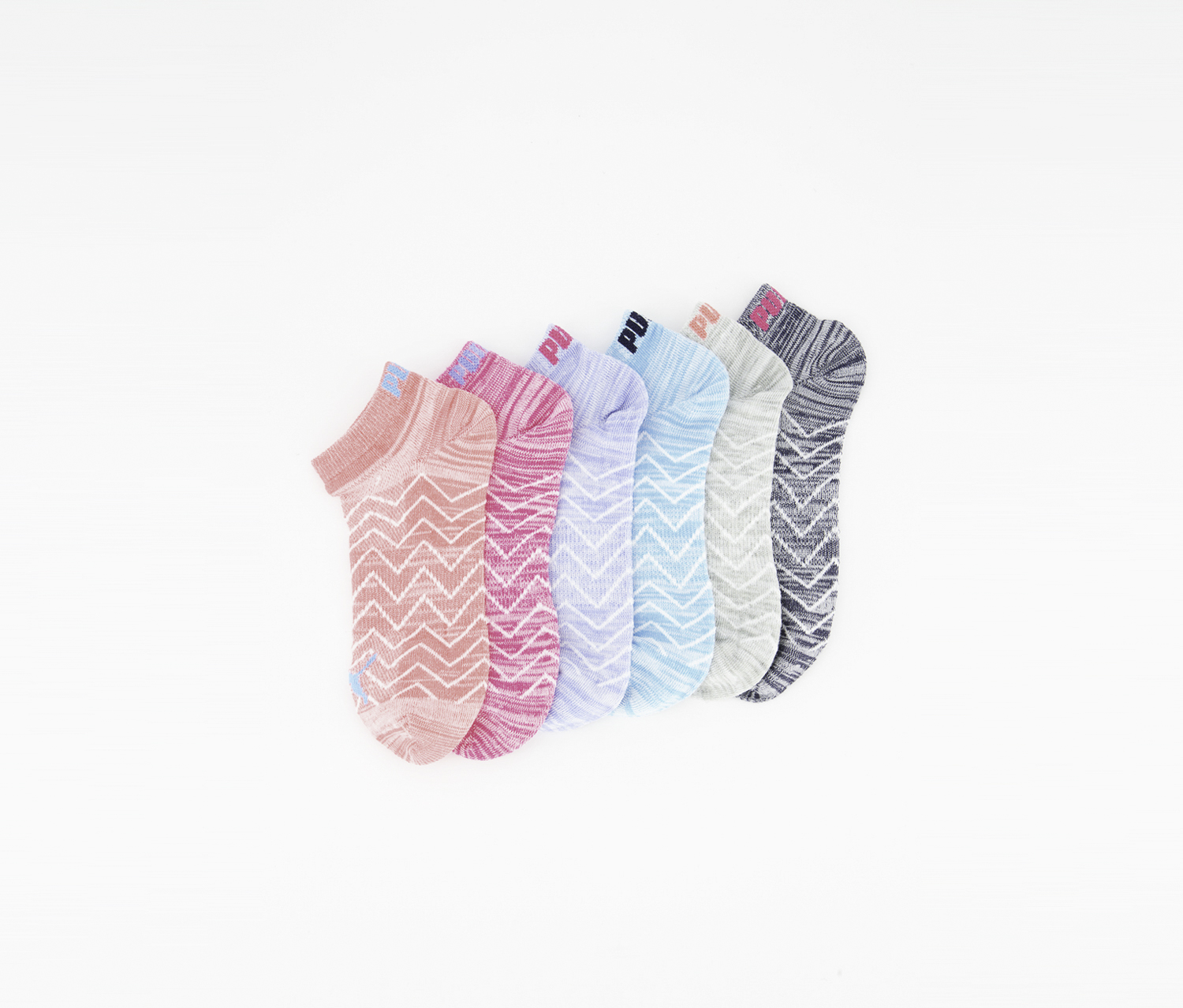 Girl's 6 Pair Low Cut Socks, Coral/Turquoise/Grey/Magenta/Light Blue