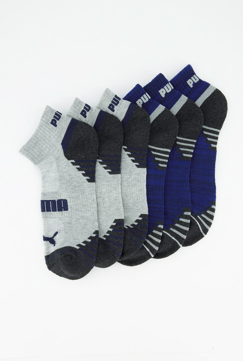Men's 6 pair Quarter Crew Socks, Blue/Grey/Charcoal