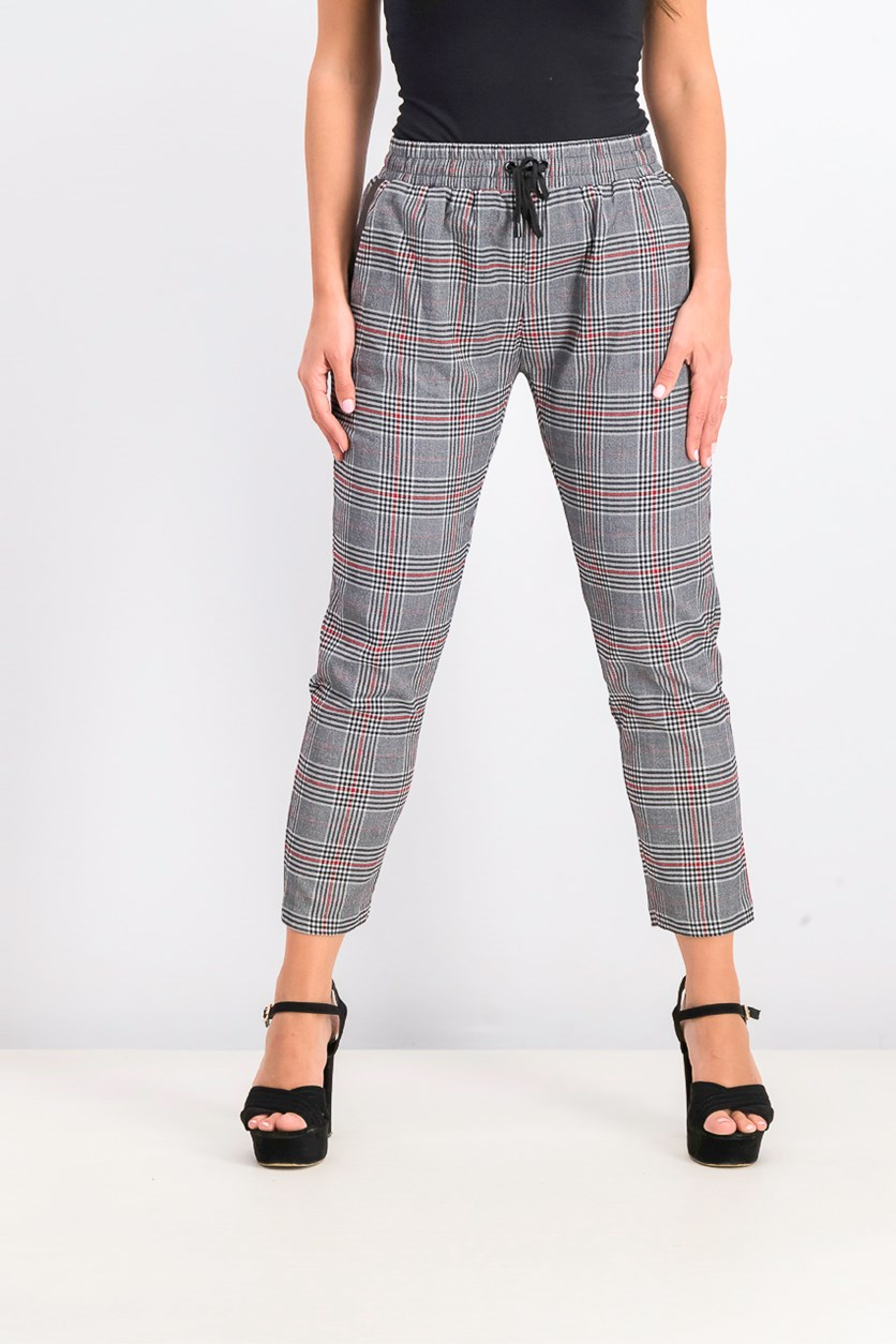 Women's Bowery Plaid Pants, Grey/Red/Black
