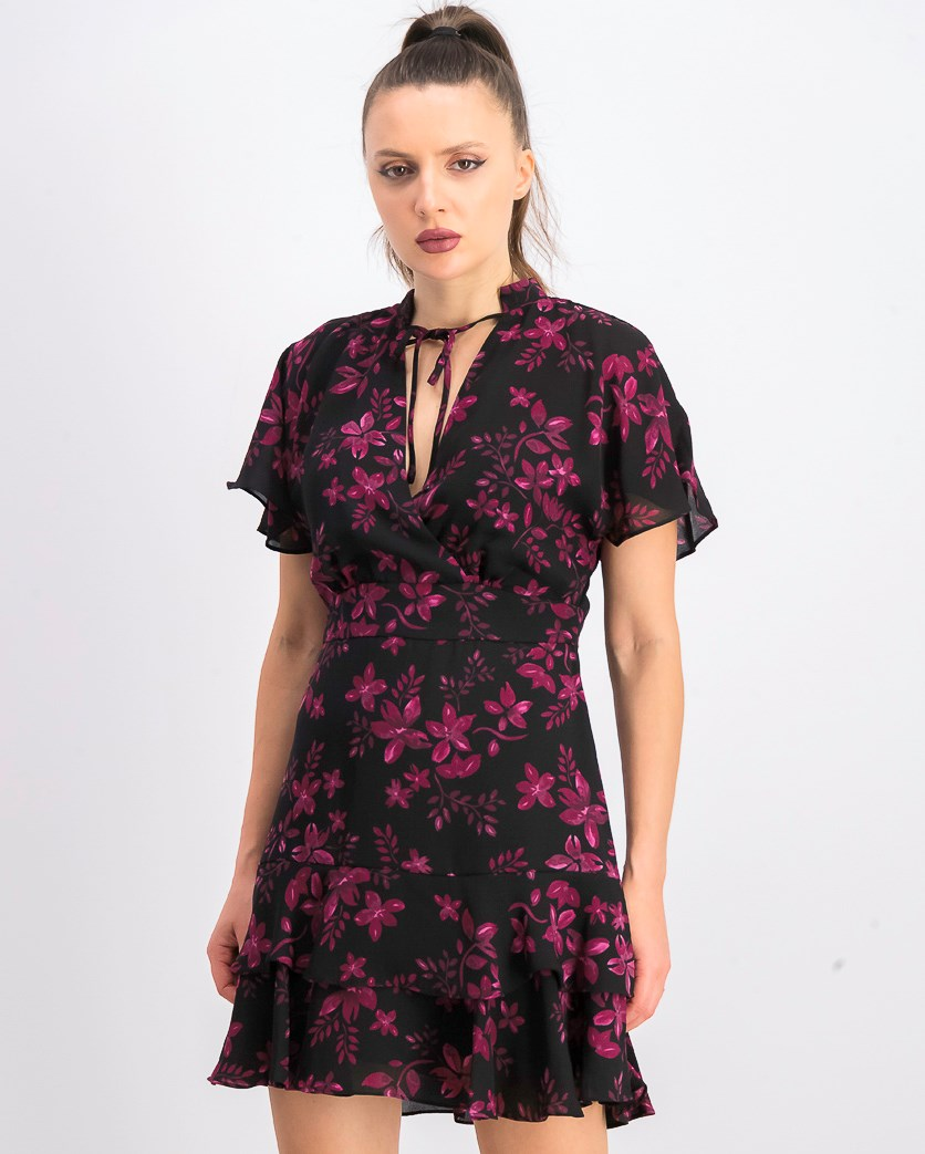Women's Floral Short Dress, Midnight Fleur Black/Pink