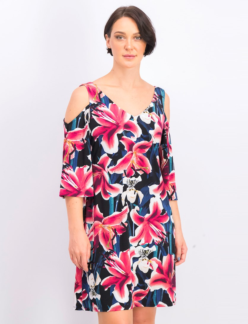 Women's Cold-Shoulder Floral Dress, Berry Combo