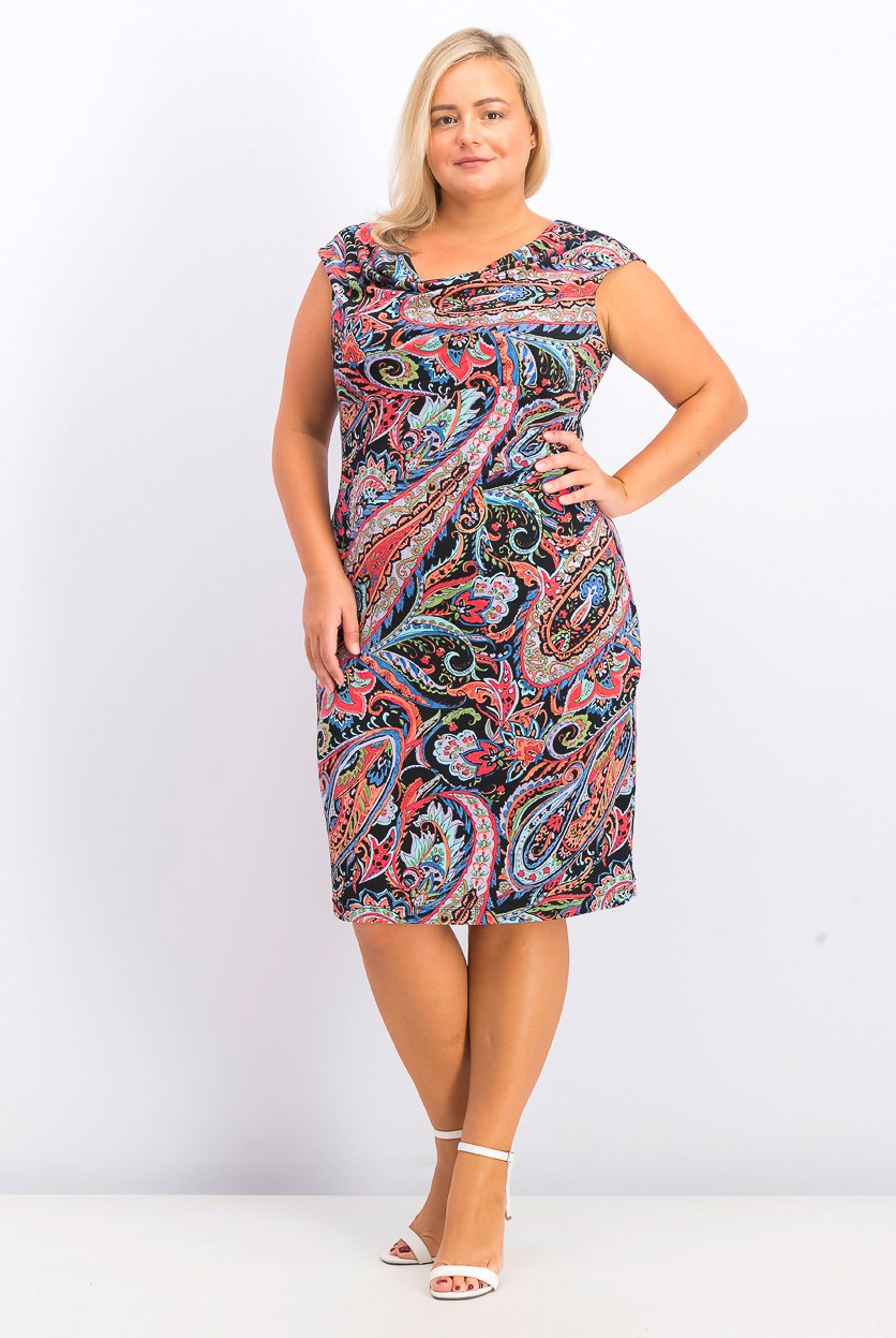 Women's Printed Cap Sleeve Sheath Dress, Black